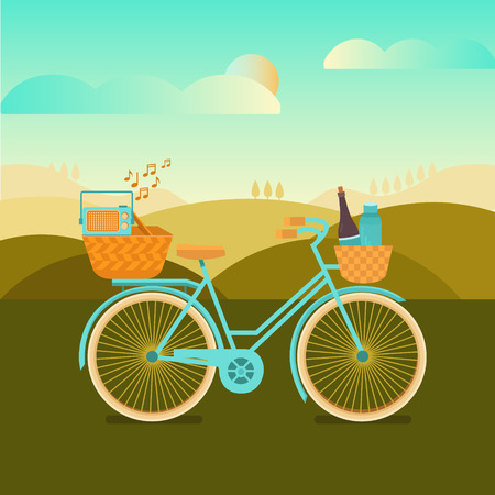Illustration to go camping or a picnic. Vector background with landscape and bicycle. Banner weekend outdoors. Set of elements: bike, basket, recorder, wine. Activity and sport in nature.