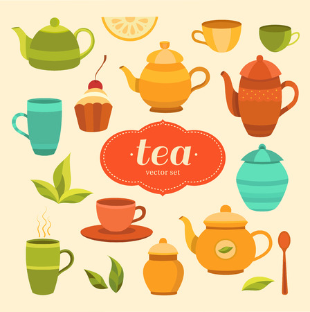 Tea collection of vector elements: cup, teapot, sugar bowl, cake, lemon, tea leaf, spoon. Set of objects for design. Template for background, packaging, print, banner, label, tag, card, flyer.