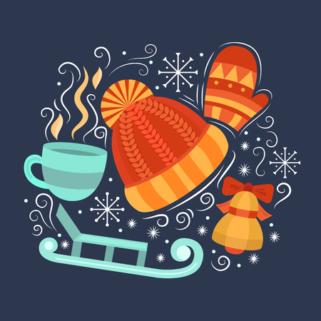 hot drink: Vector concept with symbols of winter. Collection elements: winter hat, mittens, cup of hot drink, sled, bell and snowflakes. Merry Christmas design concept. Background for card, banner, flyer. Illustration