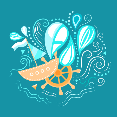 underwater world: illustration of sea life with boat, helm and waves. Underwater world.