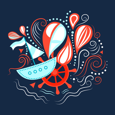 helm: illustration of sea life with boat, helm and waves. Underwater world.