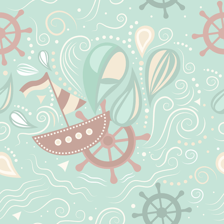 underwater world: seamless pattern marine life with boat, helm and waves. Underwater world. The journey by sea. Illustration