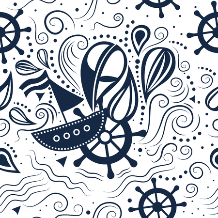underwater world: seamless pattern marine life with boat, helm and waves. Underwater world.