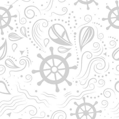 underwater world: seamless pattern marine life with helm and waves. Underwater world.