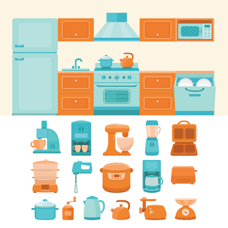 double boiler: Illustration of a kitchen with appliances Illustration