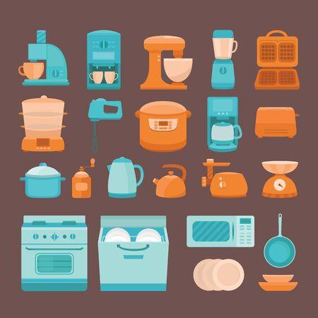 kitchen appliances: Set of elements kitchen appliances Illustration