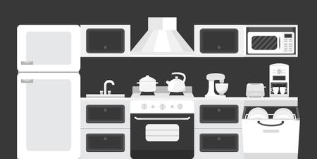 kitchen appliances: Illustration of a kitchen with appliances Illustration