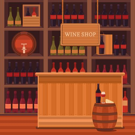 countertop: illustration of a wine shop, bar, restaurant