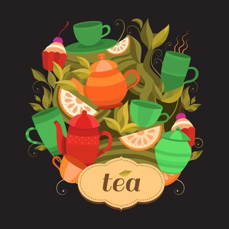 Design tea packaging. background with cups, teapot, sugar bowl, tea leaf, cakes, lemon. Illustration