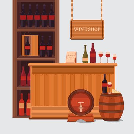 Illustration eines Weingeschäft, Bar, Restaurant.