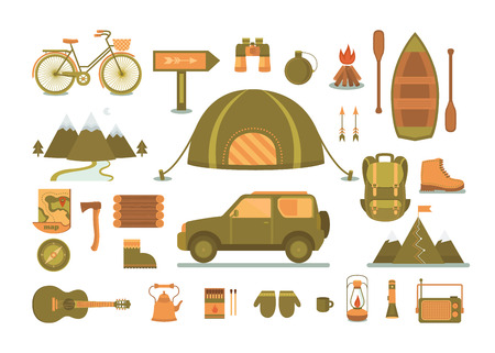 jeep: Set of equipment for camping. Illustration