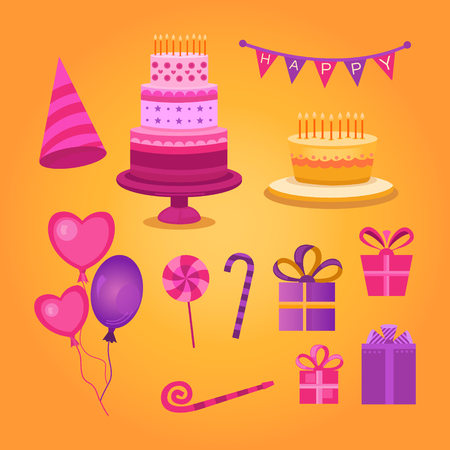 congratulatory: Set of objects Happy Birthday Illustration