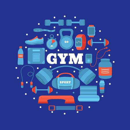 Set of gym equipment. Illustration