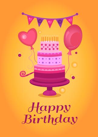 Happy Birthday greeting card. Illustration