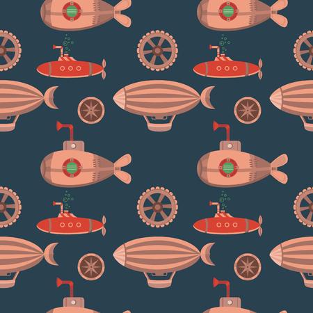 Seamless pattern steampunk. 일러스트