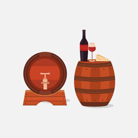 Illustration of two wine barrels.