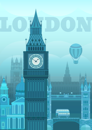 london tower bridge: London Big Ben Vector illustration