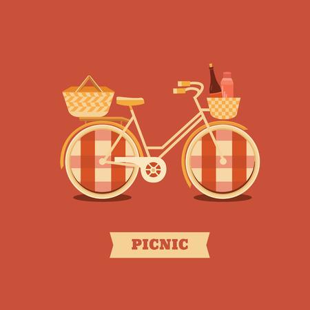 Illustration zum Campen oder Picknick. Vektorhintergrund mit Fahrrad. Bannerwochenende im Freien. Satz Elemente: Fahrrad, Korb, Thermoskanne, Wein. Aktivität und Sport in der Natur.