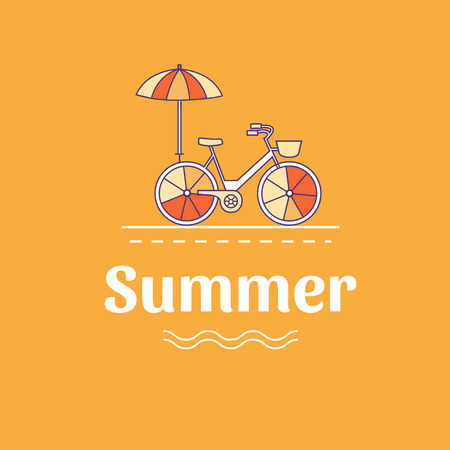 Vector illustration of summer vacation. Banner with bicycle. Vacation on the beach. Active rest. Camping. Background for cards, invitations, cover, flyers, web pages. Logo design. Line style. Illustration