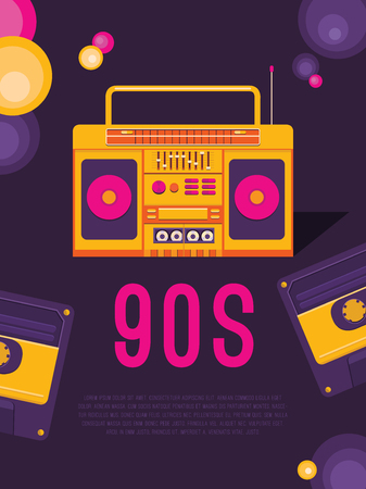 Poster music of the 90s and 80s. Template flyer with cassette tape recorder. Vector background for invitation, card, ticket, banner, label, tag, cover, album. Illustration in retro style.