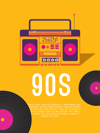 Poster music of the 90s and 80s. Template flyer with cassette tape recorder and vinyl record. Vector background for invitation, card, ticket, banner, label, cover, album. Illustration in retro style.