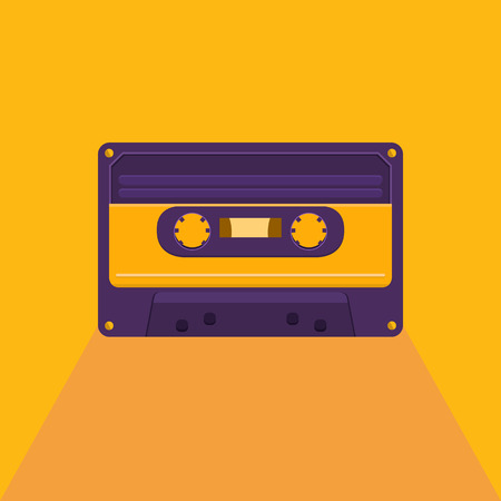 Vector illustration of a vintage audio cassette. Music of the 80s and 90s. Poster retro party, nostalgia. Vector background for invitation, card, ticket, banner, label, tag, cover, album. Flat style. Illustration