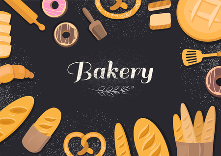 Products bakery on black background