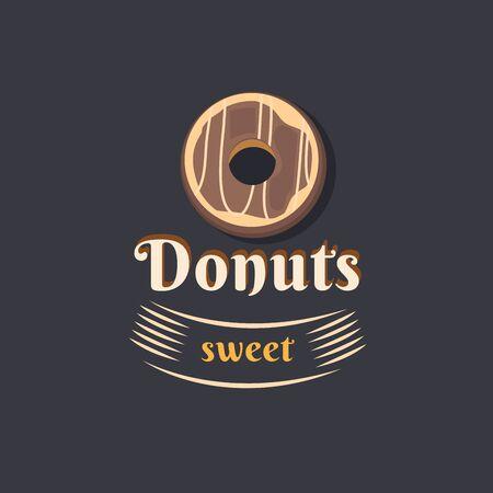 cake factory: Vintage logo donut. Illustration