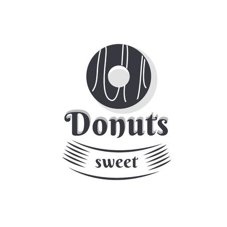 Vintage logo donut. Ilustração