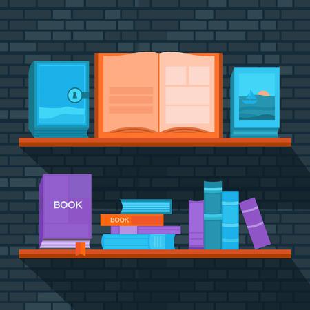 Vector illustration of bookshelf. 向量圖像