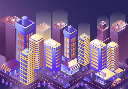 Modern city night isometry vector illustration. City landscape. Cityscape 3d background. Illustration of skyscrapers at night. Skyline scene. Smart megapolis: skyscraper, building, architecture, car.