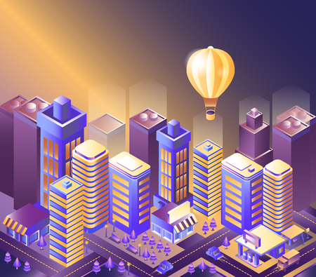 Modern city night isometry vector illustration. Illustration of a balloon flying over the city. Cityscape 3d background. Skyscrapers at night. Skyline scene. Landscape smart megapolis.  Illustration