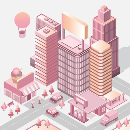 Modern city landscape. Cityscape 3d vector isometric. Skyline scene. Smart city: skyscraper; building; architecture; car; shop; street; road; coffee. Technology in megapolis. Toy town. Golden gradient
