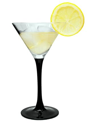 diluted: Martini with lemon and ice on a white background