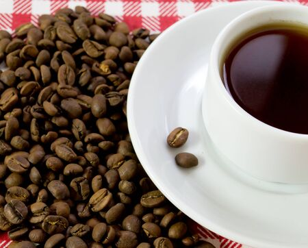 white coffee pair on checkered tablecloth Stock Photo - 13152573