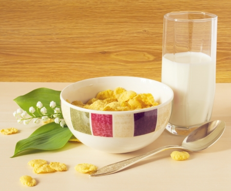 cereal with milk on the table photo