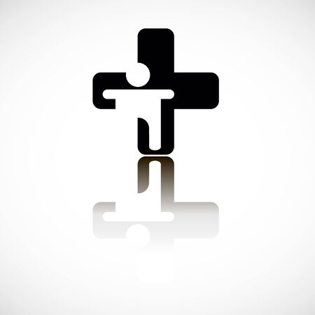reflection of life: cross icon sign