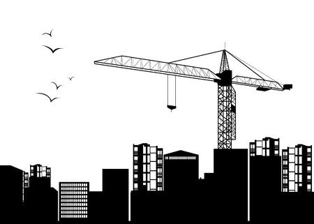 construction crane silhouette industry illustration architecture