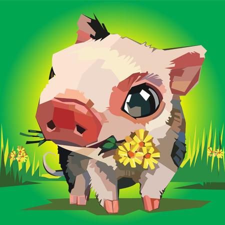 illustration of cartoon pig flowers grass