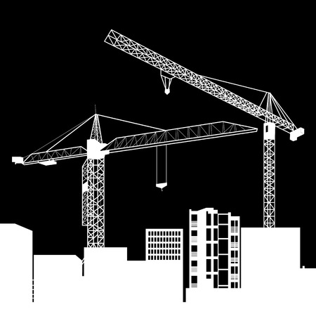 construction crane silhouette industry illustration architecture