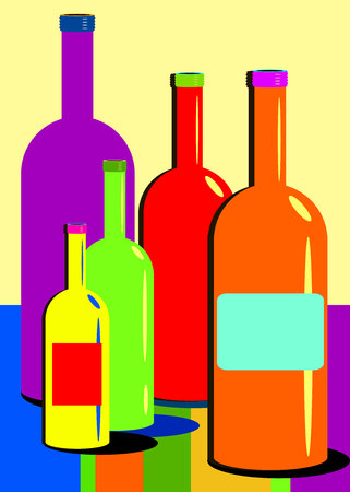 wine glass alcohol bottle drink illustration Illustration