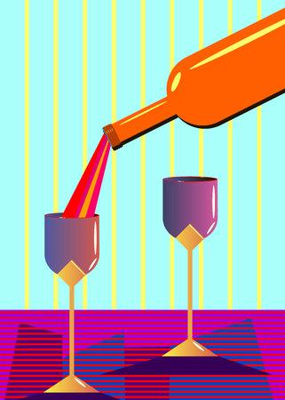 wine glass alcohol bottle drink illustration Illustration
