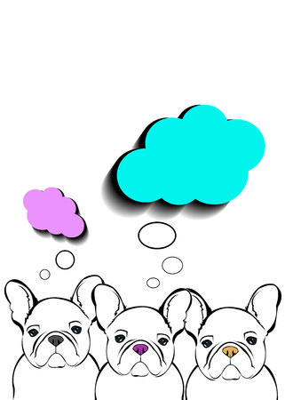 dog breed cute pet animal bulldog Illustration