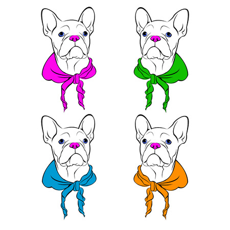 French Bulldog. illustration for a card or poster. Print on clothes. Cute puppy. Illustration