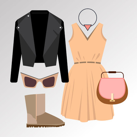 dress vector sunglasses fashion jacket shirt shoes clothing set collection shoes boots