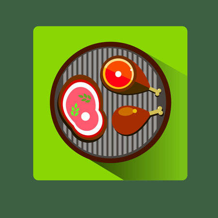grill meat barbecue vector food beef illustration