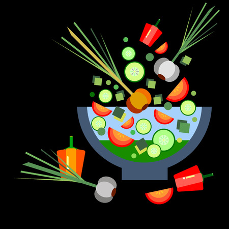 salad vector illustration healthy food tomato organic