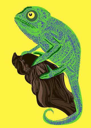 Camaleón lagarto dibujo gráficos en color detalles rama Foto de archivo - 74441179