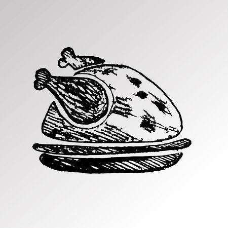 cooked chicken food dinner meat roast meal vector turkey roasted plate tasty Illustration