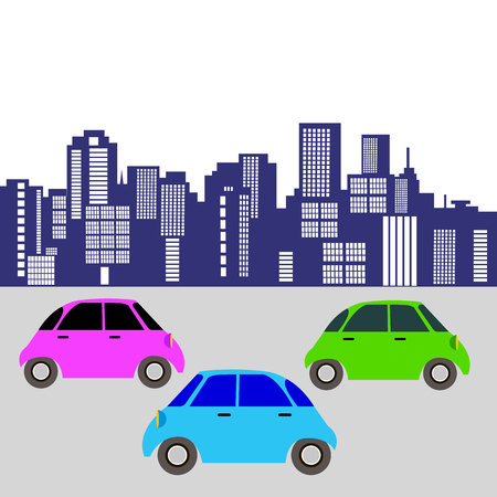 car toy vector automobile auto vehicle icon cartoon illustration wheel transport city cars on the road, the car in city Illustration